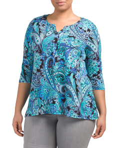 Plus Paisley Split Neck Swing Top