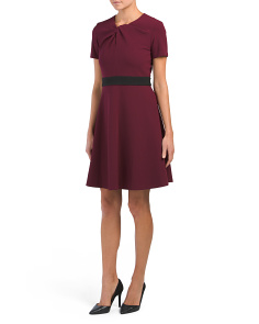 Short Sleeve Tie Knot Crepe Dress
