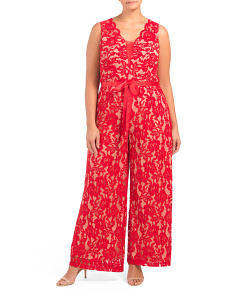 Plus Stretch Lace Ribbon Belted Jumpsuit