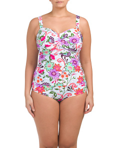 Plus Twist Front Shirred One-piece Swimsuit