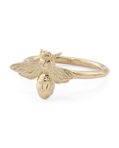 Made In Italy Gold Plated Sterling Silver Bee Ring