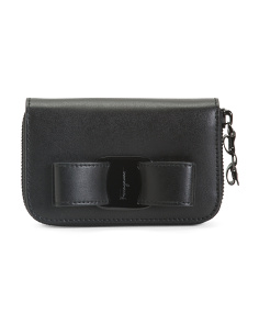 Made In Italy Vera Bow Leather Card Case