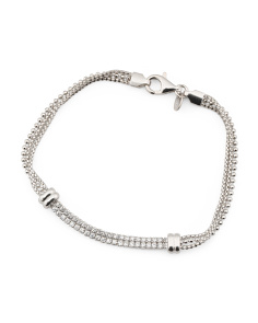 Made In Italy Sterling Silver Cz Multirow Bracelet