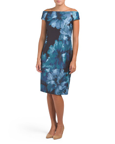 Scuba Crepe Printed Midi Dress