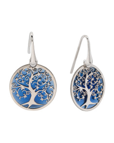Made In Italy Sterling Silver Mop Tree Of Life Earrings