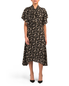 Tie Neck Printed Crepe Midi Dress