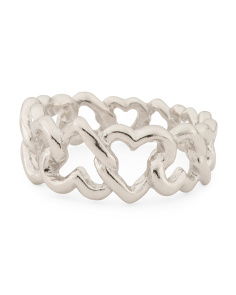Made In Italy Sterling Silver Heart Chain Ring