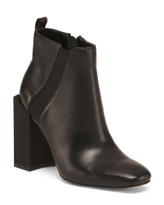 Block Heel Leather Ankle Booties