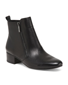 Side Zip Leather Ankle Booties