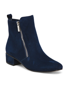 Suede Side Zip Ankle Booties