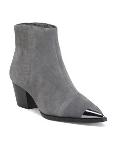 Suede Metallic Pointy Cap Toe Ankle Booties