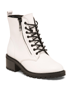 Leather Side Zip Lug Sole Combat Boots
