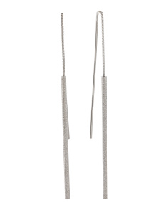 Made In Italy Sterling Silver Textured Bar Threader Earrings