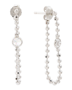 Made In Italy Sterling Silver Diamond Cut Bead Cz Earrings
