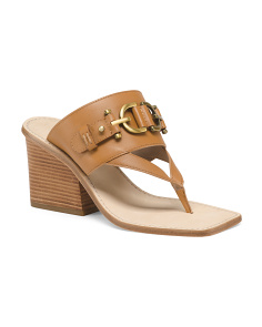 Bit Detail Heeled Leather Sandals