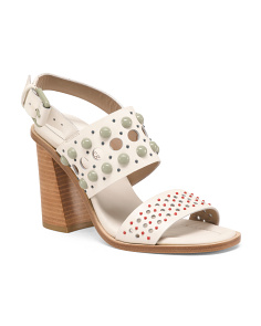 Embellished Leather Heeled Sandals