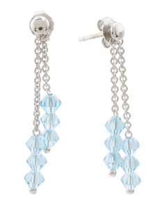 Made In Italy Sterling Silver Double Row Crystal Earrings