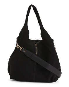 Suede Large Hobo With Front Pocket