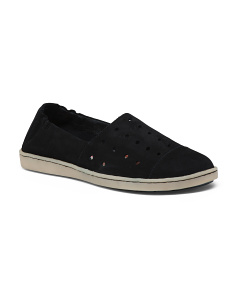 Perforated Slip On Suede Sneakers