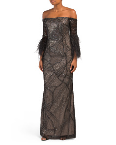 Off The Shoulder Feather Sleeve Gown