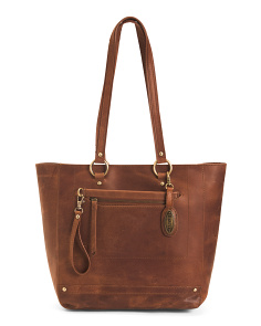 Distressed Wellsley Leather  Tote