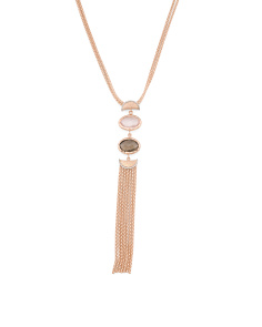 Made In Italy 2tone 14k Gold Gemstone Tassel Necklace
