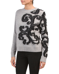 Cashmere Jacquard Pullover Sweater