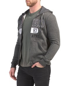 Zip Up Fleece Hoodie With Applique