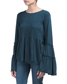 Tiered Bell Sleeve Top With Smocked Front