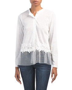 Swiss Dot Lace Trim Cardigan
