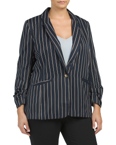 Plus Stripe Stretch Blazer