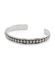 Made In Mexico Sterling Silver Beaded Thin Cuff Bracelet
