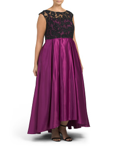 Plus Lace Overlay Bodice Dress