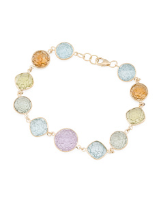 Made In India 14k Gold Pineapple Cut Multi Gemstone Bracelet