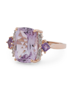 Made In India 14k Gold Amethyst And Zircon Ring