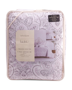 6pc Empire Damask Comforter Set
