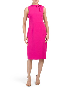 Tie Neck Sleeveless Midi Dress