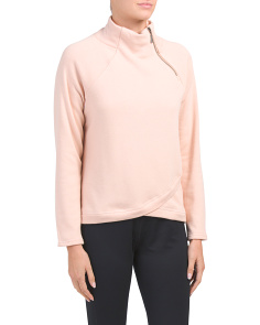 Fleece Lined Asymmetrical Zip Neck Top