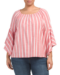 Plus Beach Stripe Bell Sleeve Top