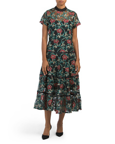 Tiered Midi Embroidered Lace Floral Dress