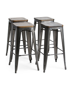 Set Of Four Metal Barstools