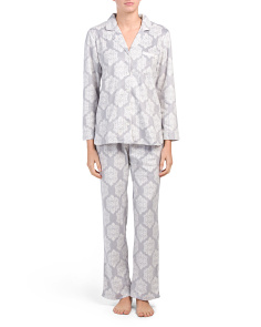 Medallion Long Sleeve Notch Collar Pajama Set