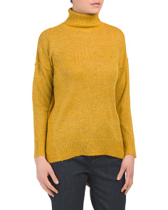 Mock Neck Drop Shoulder Hi Lo Sweater