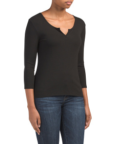 Pima Cotton Ribbed Split Neck Top