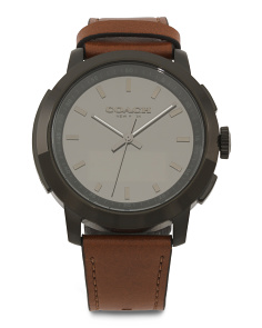 Men's Bleecker Hybrid Leather Strap Smartwatch