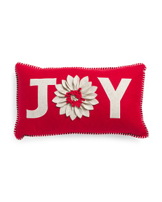 14x24 Joy Poinsettia Pillow