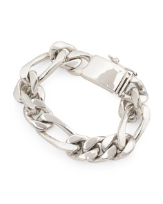 Handcrafted In Mexico Sterling Silver Heavy Linked Bracelet