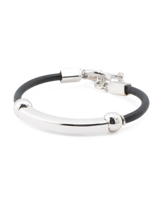 Made In Mexico Sterling Silver And Leather Bracelet
