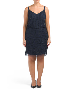 Plus Beaded Blouson Cocktail Dress