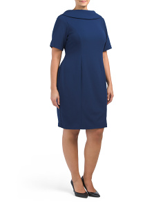 Plus Sateen V-back Sheath Dress